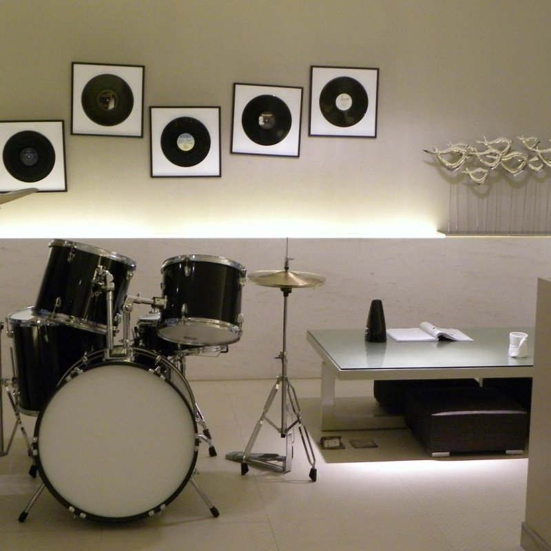 A basement remodeling as music room.