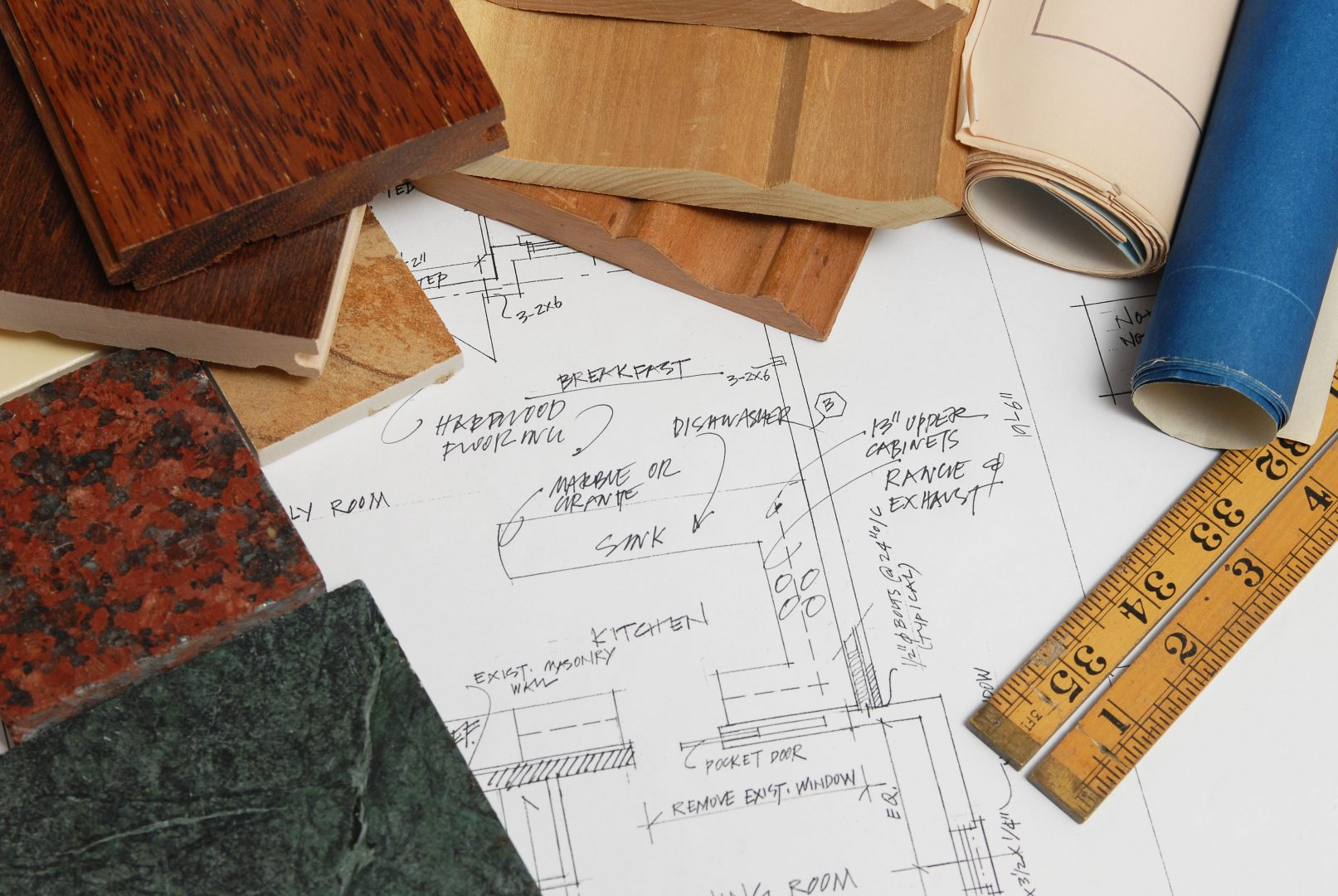 kitchen renovation blueprints material samples