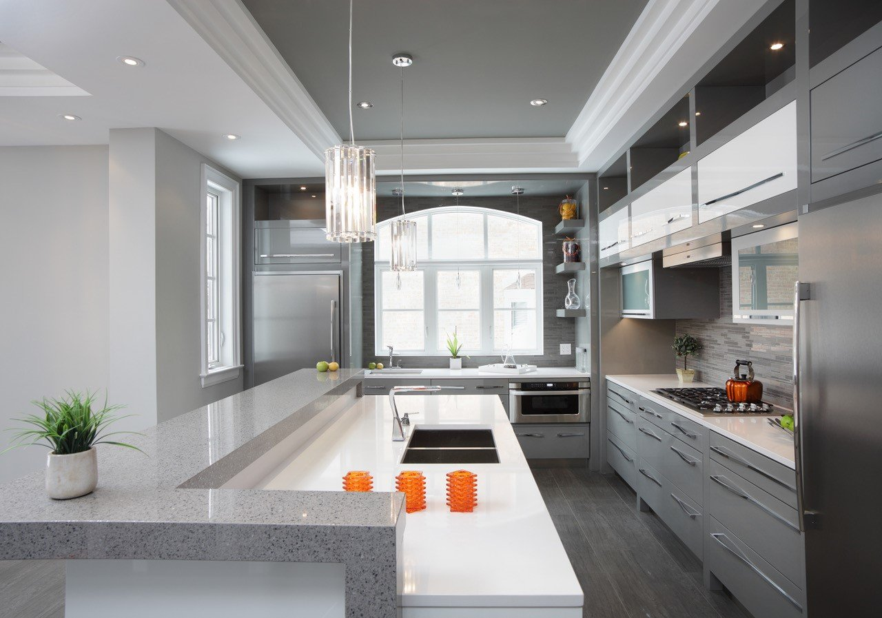 modern Design Kitchen Renovations Remodeling with working space and integrated bar
