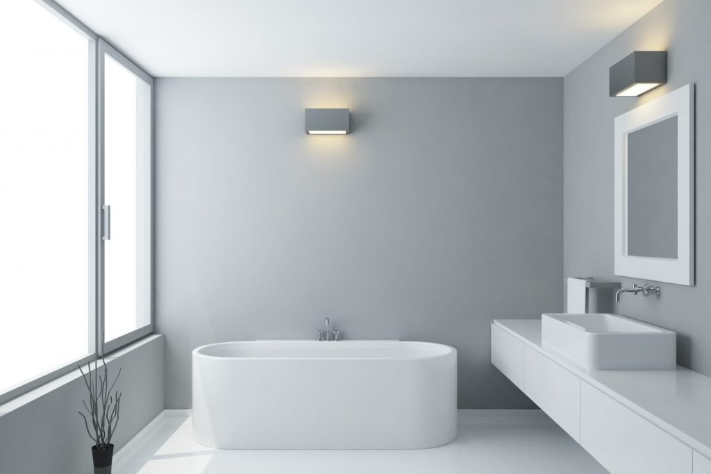 modern bathroom design renovation with solitair bathtub