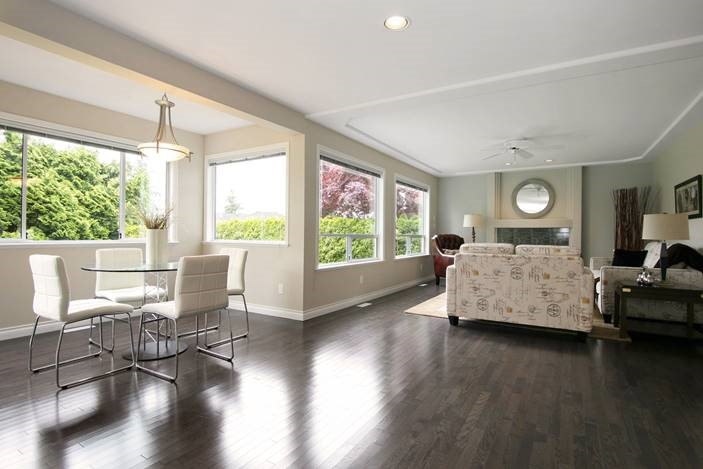 Flooring of living room and kitchen of a home interior remodelling project.