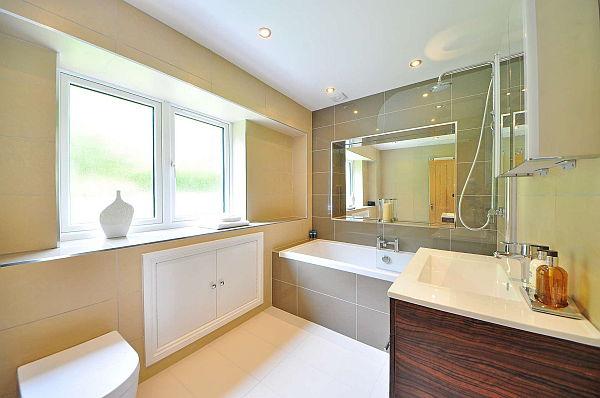 Bathroom with a drop-in bathtub.